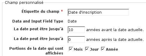 Modifier les dates permises